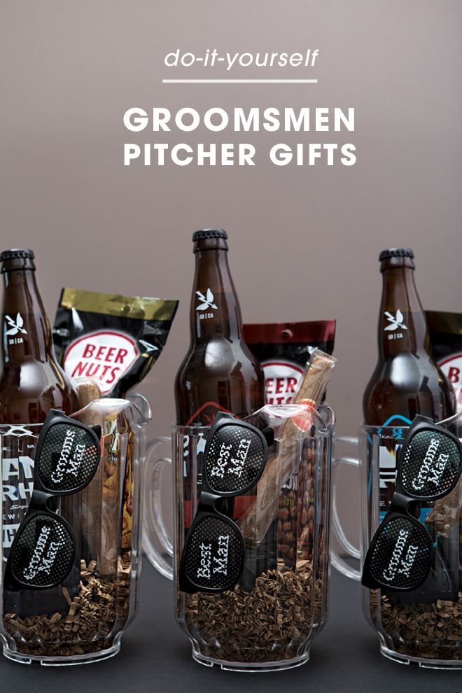 Check out these awesome Groomsmen beer pitcher gifts!: