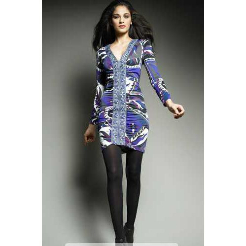 Emilio Pucci Blue and Puple Printed Silk blend V neck Dress http://www