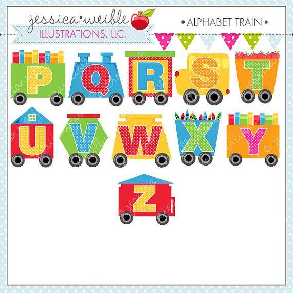 Alphabet Train clipart ensemble est livré avec 26 graphiques dont A à travers des lettres de lAlphabet Z sur les voitures de Train. …