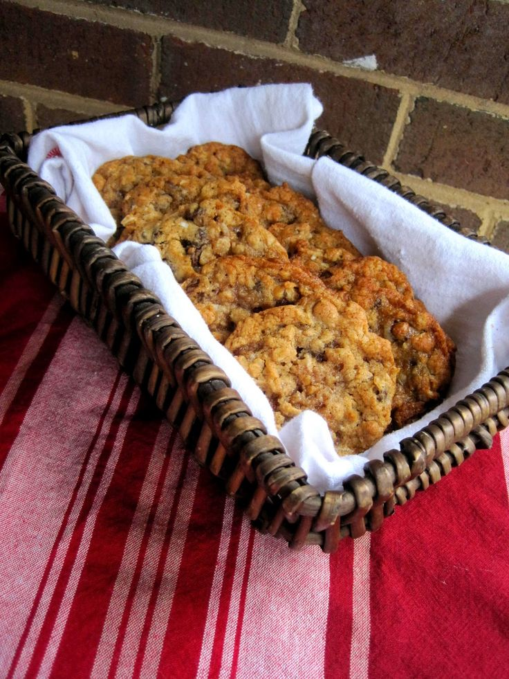 Laura Bush's cowboy cookies: chocolate chips, oats, coconut, pecans and cinnamon