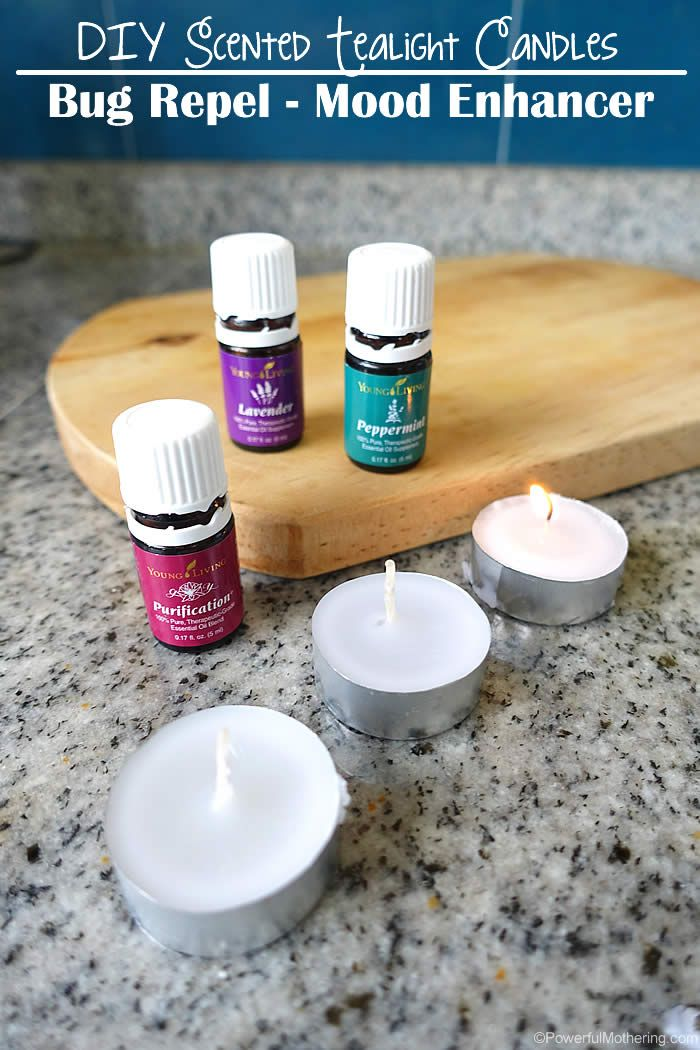 Turn your ordinary tealight candles into AWESOME candles with a purpose!  Use your essential oils to create candles that repel bugs such as mosquitoes, serve as an air cleanser for odor or simply to provide an extra mood enhance effect. Think happy thoughts!