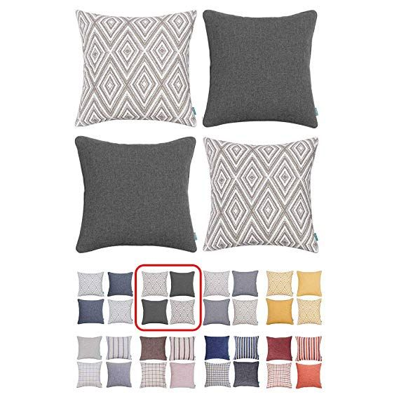 Awe Inspiring Amazon Com Home Plus Plaid Polyester Linen Decorative Evergreenethics Interior Chair Design Evergreenethicsorg