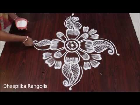 Easy Rose Flowers Rangoli Design Simple Creative Flowers Kolam With Dot 11 6 Rose Buds Free Hand Rangoli Design Small Rangoli Design Rangoli Designs Images
