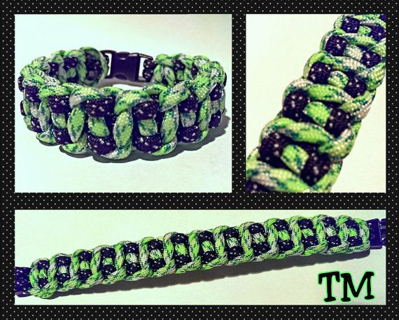 Green Stars Paracord Bracelet by ThrowinWristicuffs on Etsy, $9.00