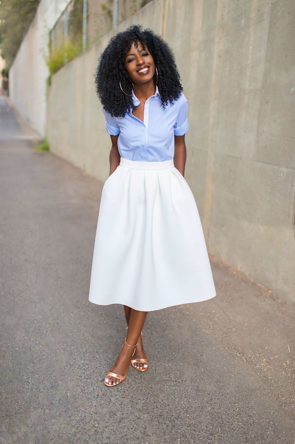 Cute Pin stripe shirt and white pleated midi skirt