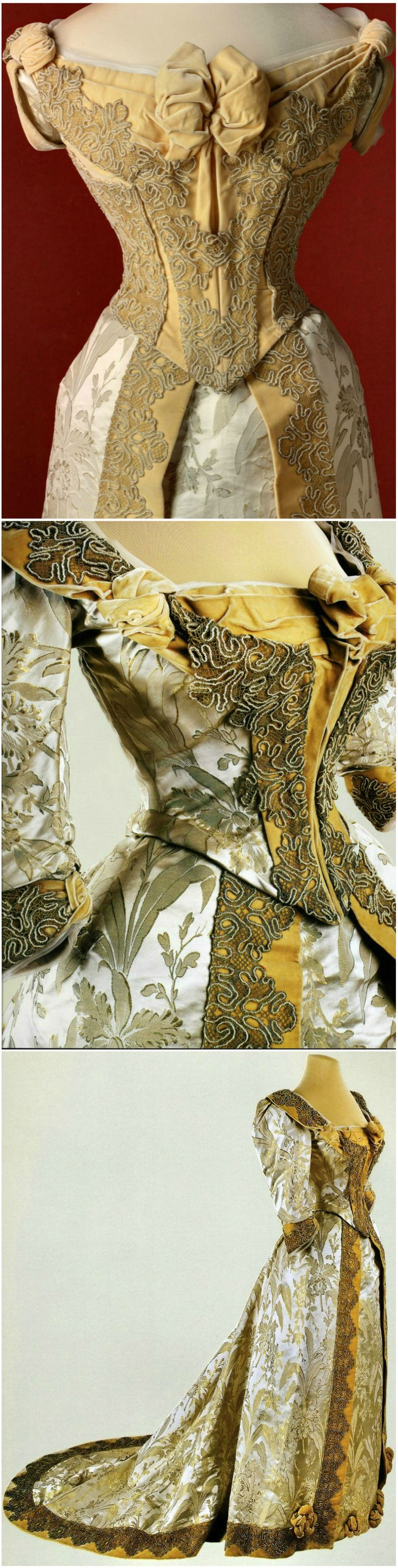 Cream brocade evening dress with orchid pattern; two bodices. Belonged to Empress Maria Fyodorovna. Designed by Morin-Blossier, Paris. 1892-1893. State Hermitage Museum, St. Petersburg.