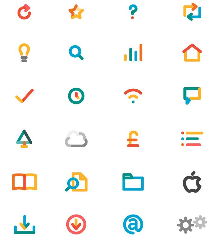 Childish, bouncy, soft icons. Interesting use of consistent colour and combination.