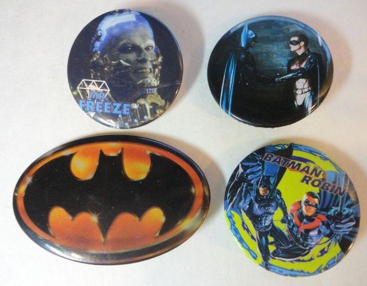 Batman and Robin movie Pinback Button Lot of 4 Mr. Freeze Logo Robin