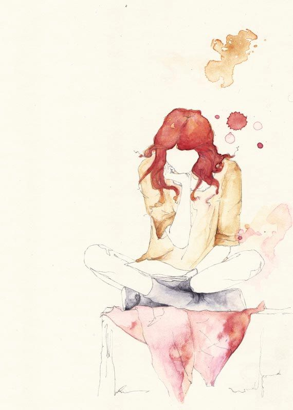 girl reading watercolor art                                                                                                                                                                                 More