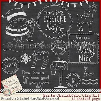 Santa Clip Art Chalkboard :: Clipart and Graphics :: Aimee Asher Boutique