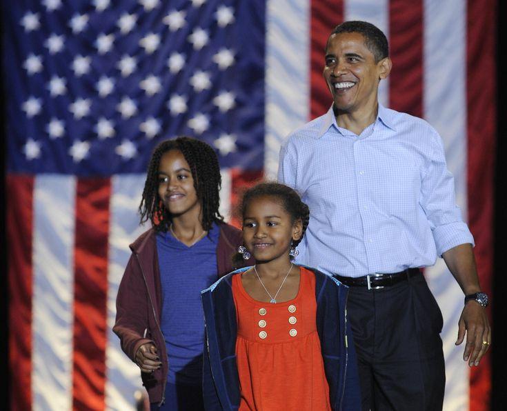 US Democratic presidential candidate Illinois Senator Barack Obama and his daughters Sasha, 7, and Malia, 10 arrive at a rally at JFK Stadium in Springfield, Missouri, November 01, 2008. AFP PHOTO/Emmanuel Dunand (Photo credit should read EMMANUEL DUNAND/AFP/Getty Images) via @AOL_Lifestyle Read more: https://www.aol.com/article/entertainment/2017/01/24/malia-obama-turns-up-at-sundance-film-festival/21661923/?a_dgi=aolshare_pinterest#fullscreen