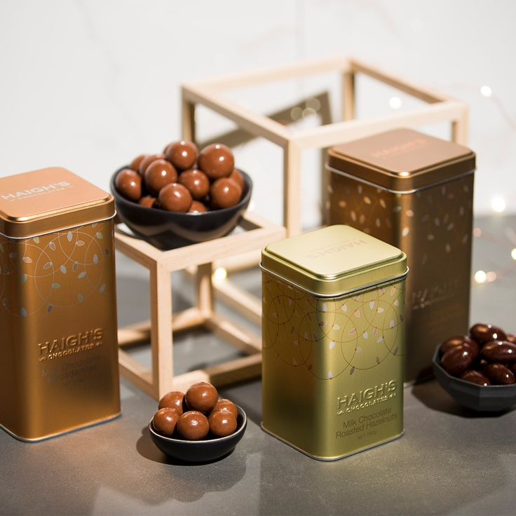 Haigh's Chocolates Christmas 2016 Beautiful, impressive delicious premium chocolates packaged in stylish gift boxes and tinware with a festive metallic finish. Delicious Speckles, Fruit & Nut Mixture, plain chocolate - there is something for every chocolate lover.