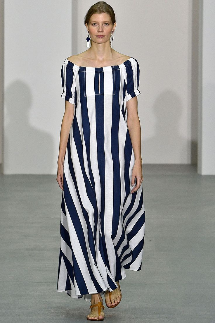 Lagenlook 1990s Style Cruisewear Navy Stripe Summer Dress by Jasper Conan 2017.