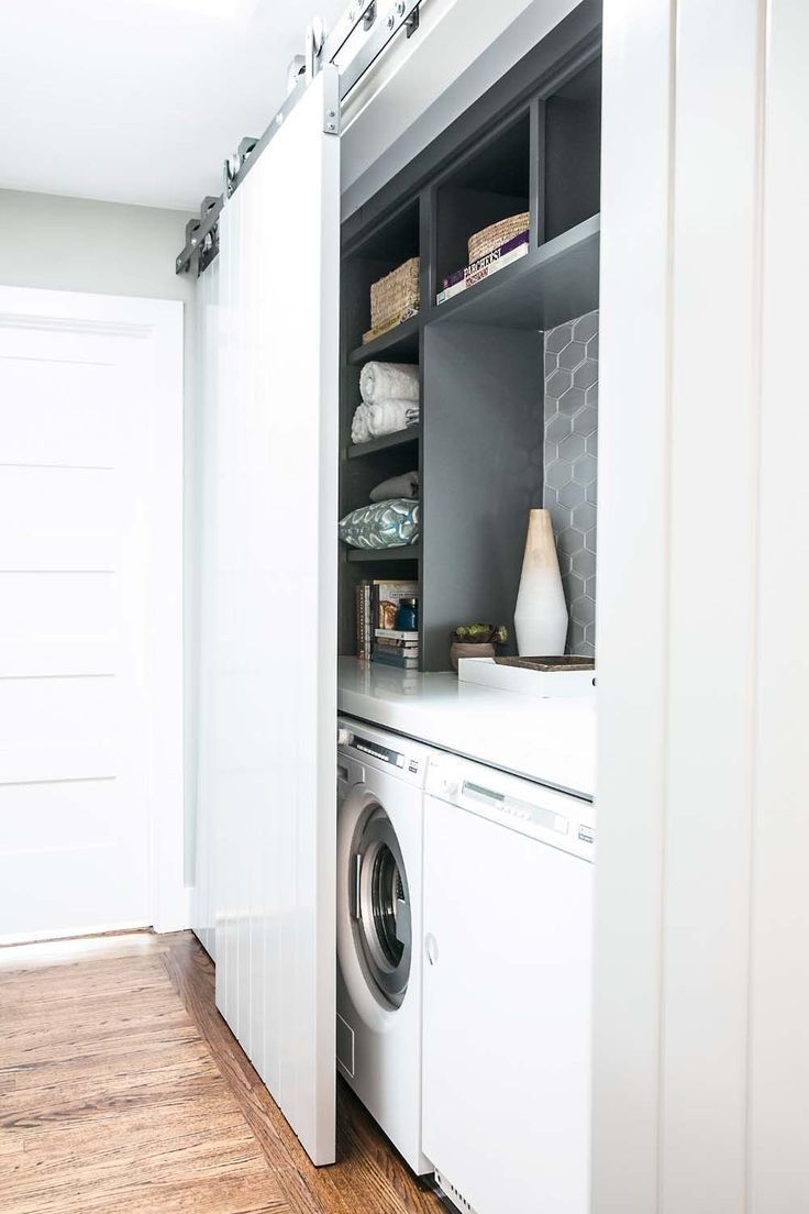 The doors behind which the washing machine and the dryer are located, as well as ironing equipment – #befinden # ironing accessories #denen #der #der #die