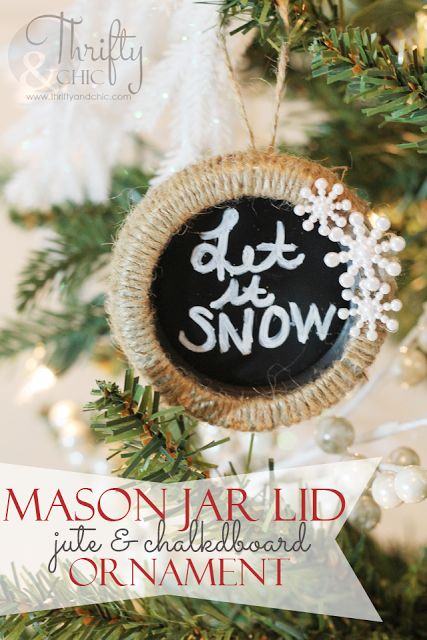 Jute and chalkboard ornament made from mason jar lids