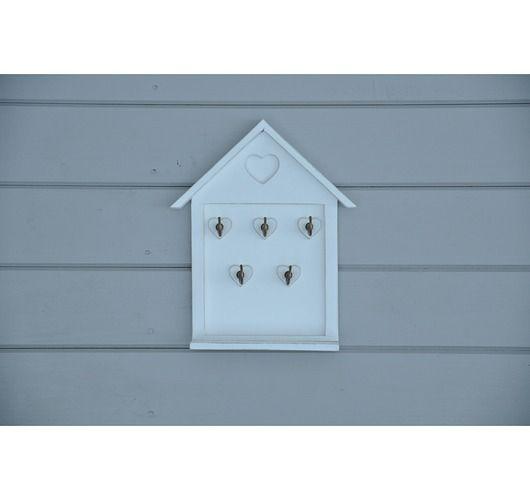 meble - komody i szafki-Biały wieszak na klucze - domek