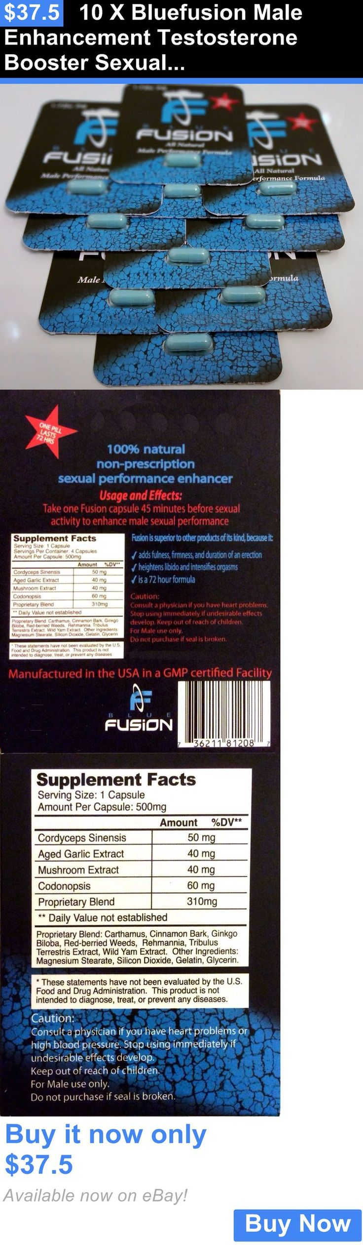 Dietary Supplements: 10 X Bluefusion Male Enhancement Testosterone Booster Sexual Enhancer - 10 Pills BUY IT NOW ONLY: $37.5 #FF #F4F #tagforlikes #vitamins #animals
