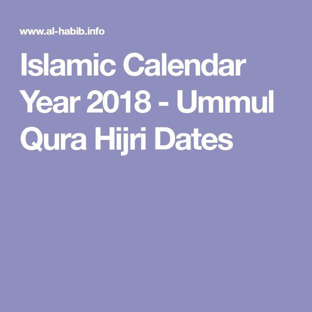 Islamic Calendar Year 2018 - Ummul Qura Hijri Dates