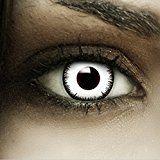 """Farbige Kontaktlinsen """"Vampir"""" + Kunstblut Kapseln + Behälter von FXContacts in weiß, weich, ohne Stärke als 2er Pack - angenehm zu tragen und perfekt zu Halloween, Karneval, Fasching oder Fasnacht"""