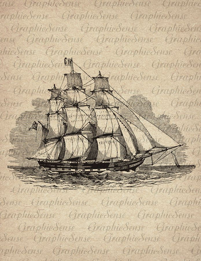 Old Sailing Ship  Frigate  Engraving  Printable by GraphicSense, $1.00