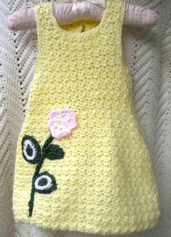 Crocheted Sundress LemonYellow w Crocheted Pink Flower