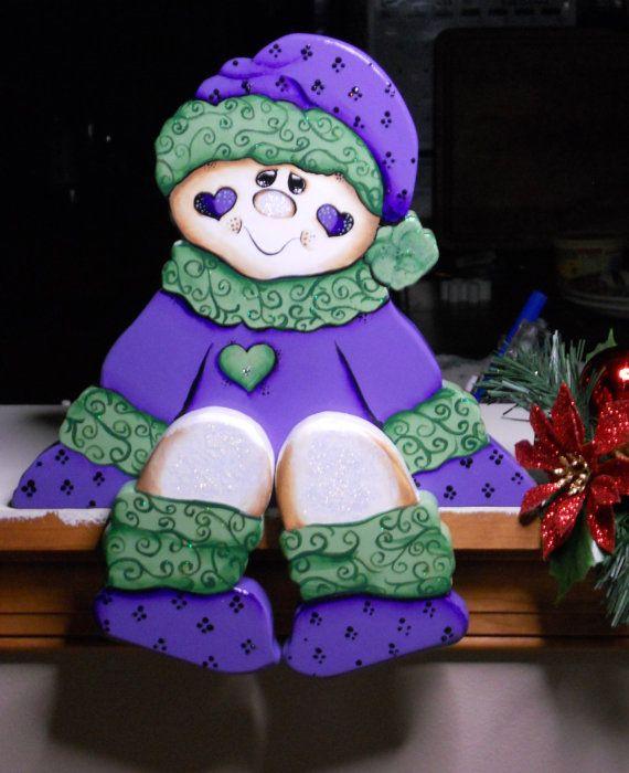 Christmas Seasonal woodcraft snowman girl by WOODLANDCRITTERS