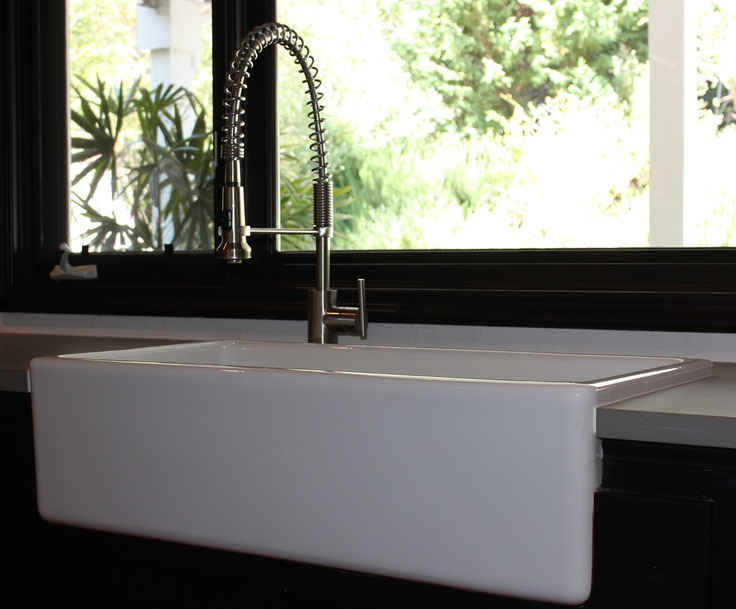 Large Industrial Sink : Large farmhouse sink with industrial faucet. Future Home Ideas ...