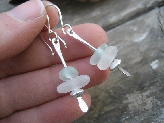 Sea Glass Jewelry  Light Blue and White by SimpleLifeDesigns, $25.00