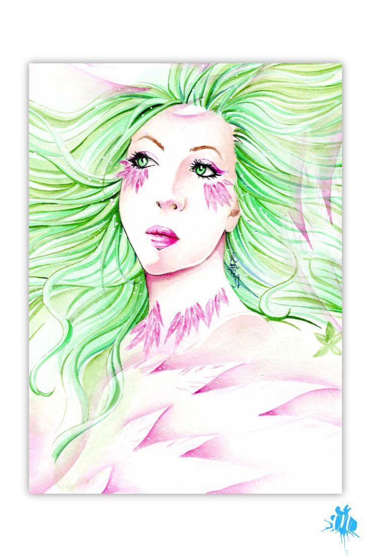 Aquarell Portrait Frau Vogel Tori Ist Ein Fantasiewesen Sie Ist