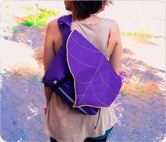 Purple Leaf Bike Messenger Bag MEDIUM by LeaflingoOo on Etsy, $78.00