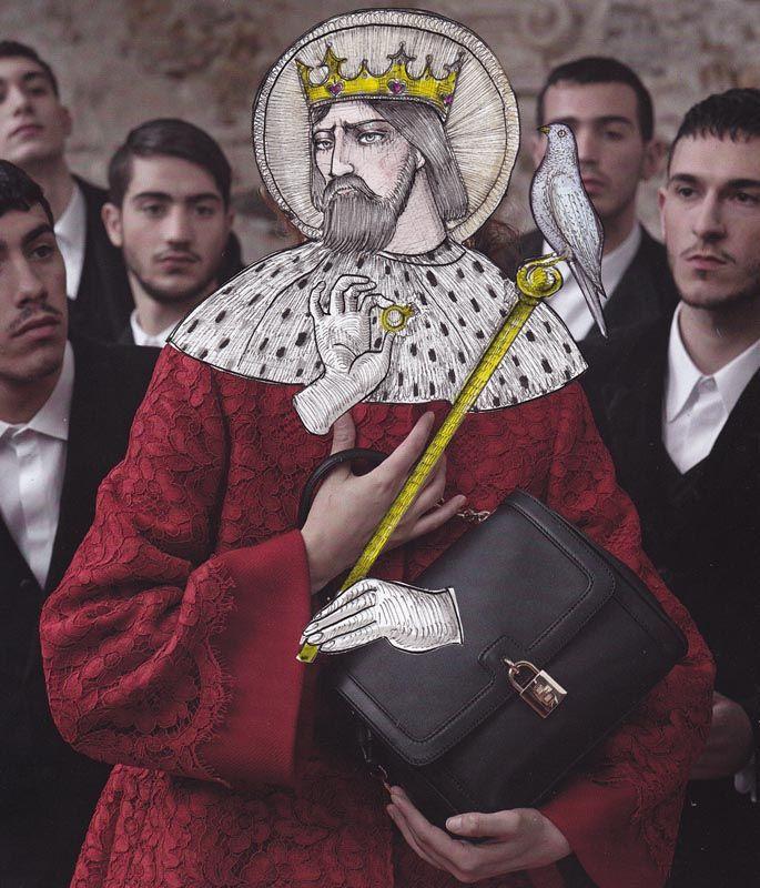 lucio Palmieri illustra tutta una serie di personaggi, legati a diversi immaginari, in versione Dolce&Gabbana.