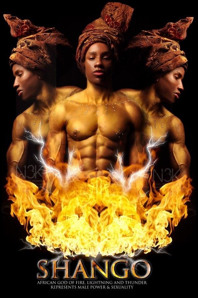SHANGO [SANGO]: African Orisha [god] of Fire, Lightning and Thunder…also represents Male Power & Sexuality. Shango, one of the most popular Orishas, is married to Obba, Oshun & Oya and the son of Agayu. Yoruba Deity of the Nigerian Orishas.model: Erik Edwardsstylist/photographer: James C. Lewis