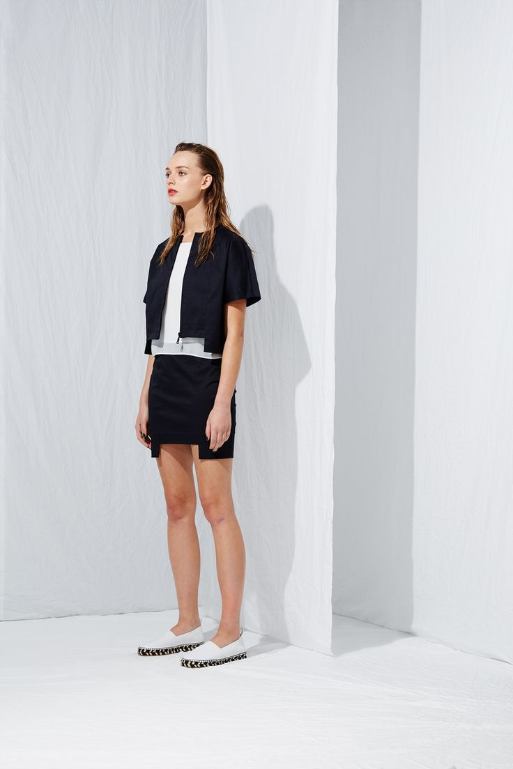 Short Sleeve French Jacket x Stepped Mini Skirt from the latest L.W.B. collection by Australian fashion designer LIFEwithBIRD Summer'15