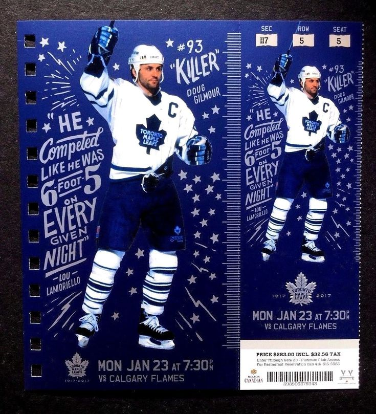 2016-17 Toronto Maple Leafs vs Calgary Flames Doug Gilmour Featured Ticket | eBay