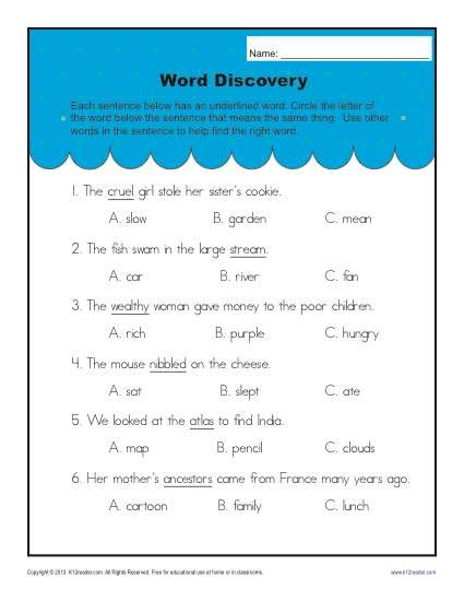 Context clues practice worksheets 3rd grade