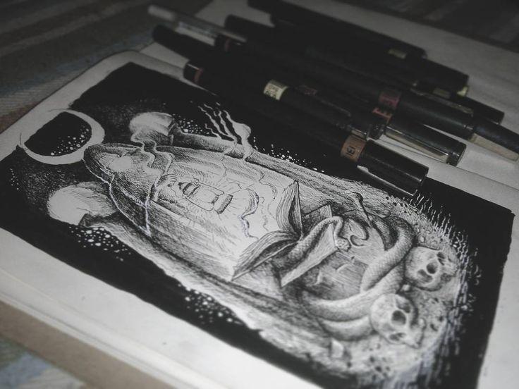 Done artwork.  Any enquiries please send me email. blckcldart@gmail.com  #artwork #inked #iblackwork #blackandwhite #occult #cult #ghoul #darkart #horror #darkside