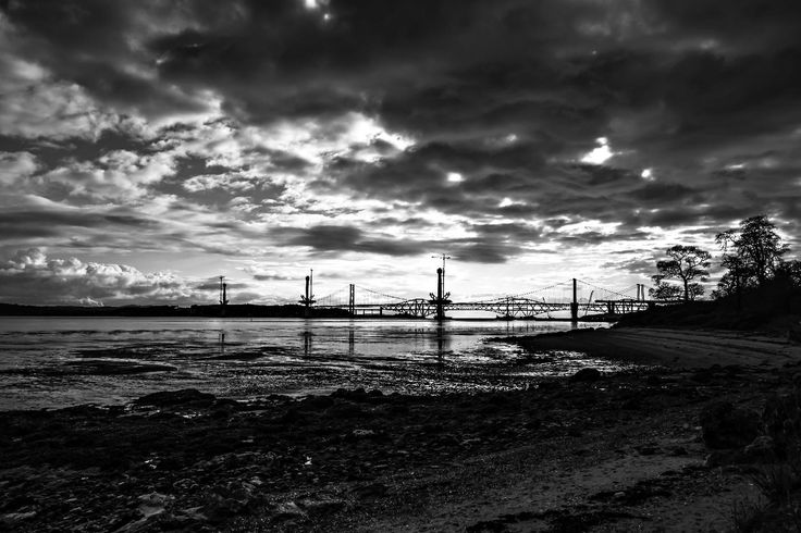 On the John Muir Way to the west of South Queensferry, the three bridges over the Firth of Forth seem tangled together. There was not a lot of colour in the sky so I thought I would try a black and white photo.