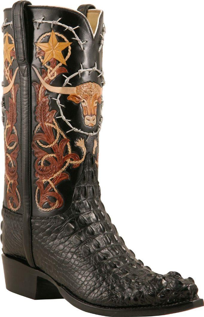Mens Lucchese Classics Black American Alligator Custom Hand-Made Cowboy Boots L1407