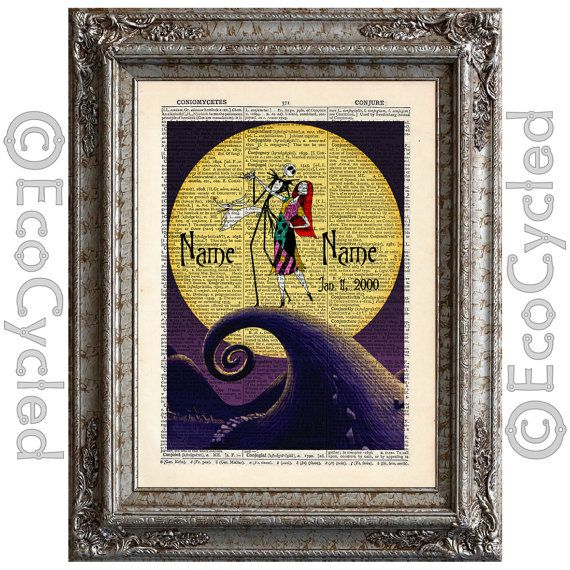 Nightmare Before Christmas 4 with Names and Date on Vintage Upcycled ...