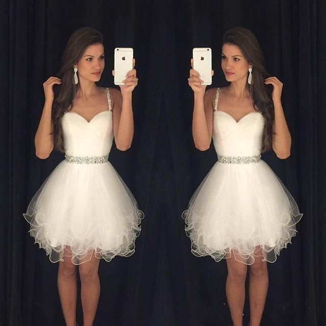Real Photos Homecoming Dresses 2016 Short Prom Dresses with Spaghetti Straps Ruffled Skirt Tulle Beaded Crystals Wedding Party Dress J1119 Online with $118.33/Piece on Caradress's Store | DHgate.com