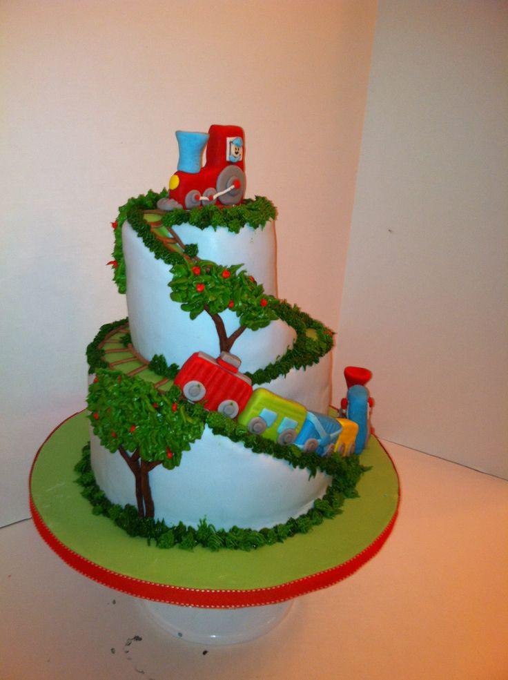 train Birthday Cakes | Spiral Train Cake