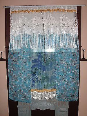 Custom Order for STAR - 3 Handmade Bohemian Curtains - Vintage Lace Silk Velvet