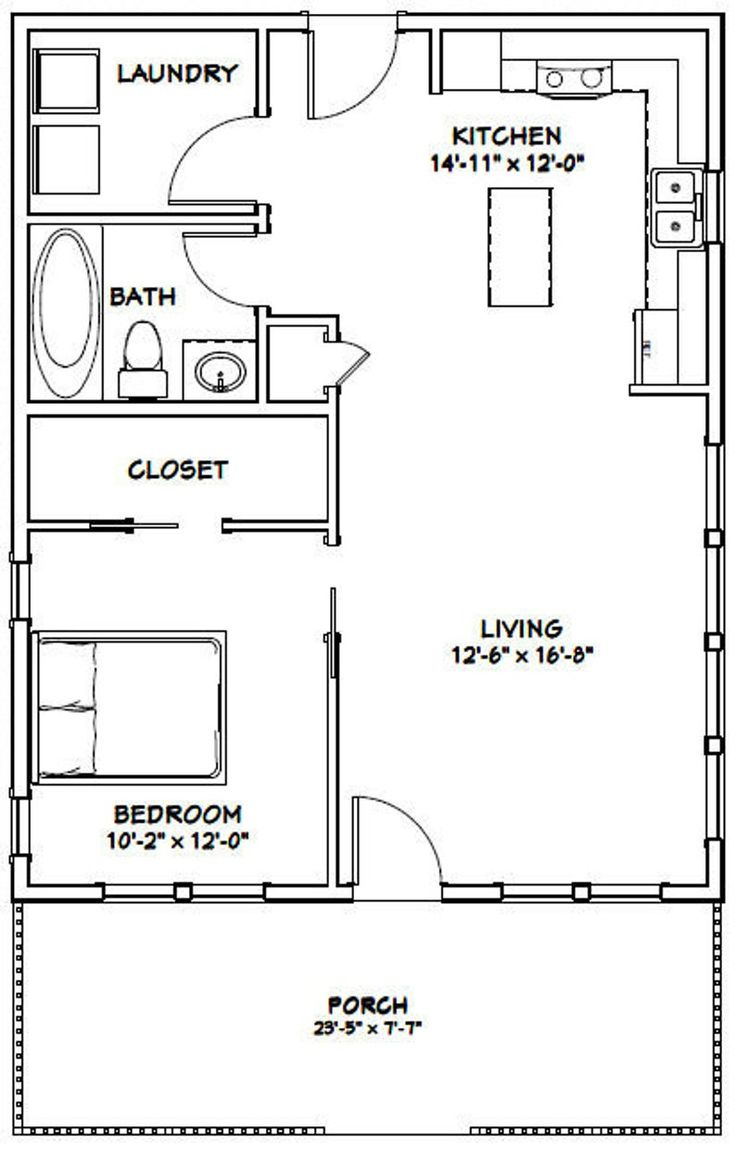 24x30 House 1-Bedroom 1-Bath 720 sq ft PDF Floor Plan