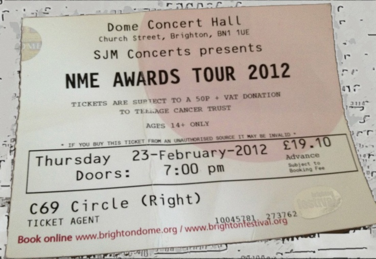 """I looked down at my own ticket from the NME awards show that I'd shoved into a coat pocket and forgotten about. What name did I see at the top?… """"SJM Concerts presents."""""""