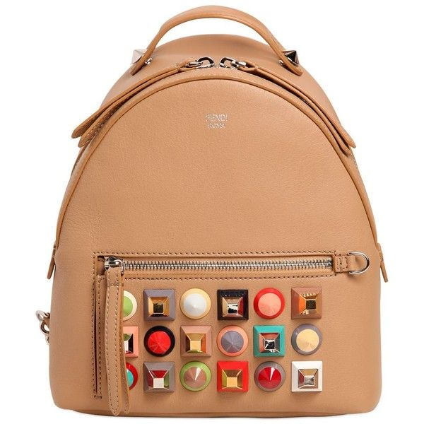 Fendi Women Mini Studded Leather Backpack ($2,320) ❤ liked on Polyvore featuring bags, backpacks, tan, day pack backpack, studded leather backpack, mini rucksack, tan bag and red backpack