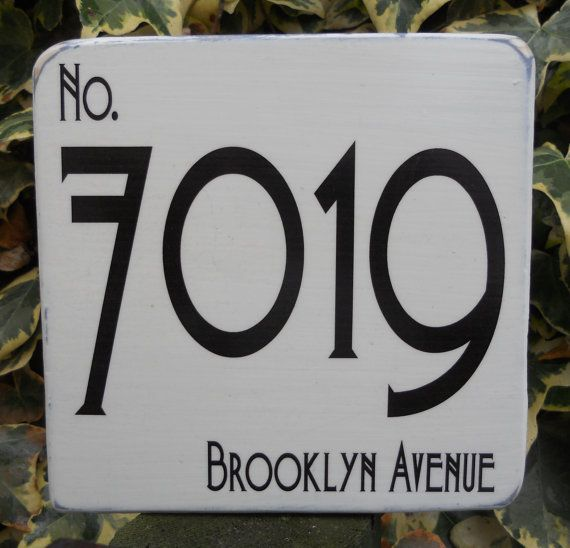 large house number art deco sign shabby chic made to order. Black Bedroom Furniture Sets. Home Design Ideas
