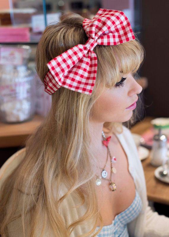Bow Headband Dolly Bow Gingham Bow Headband Rockabilly by beauxoxo, £12.00