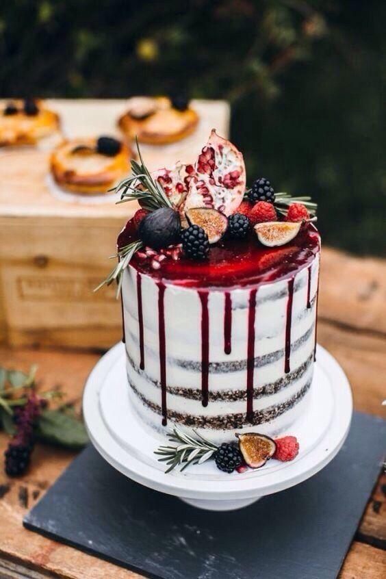 Red drip naked cake