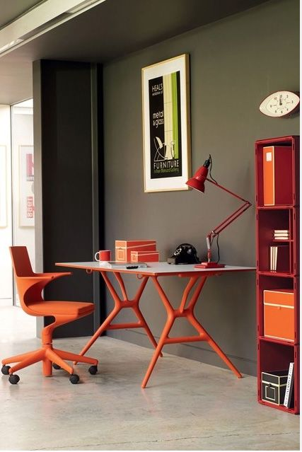 Bring a dull corner of your home to life by creating a fun orange inspired home office