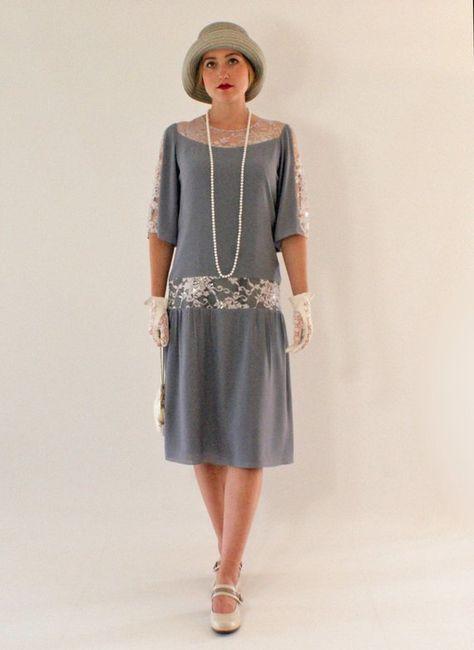Graue große Gatsby-Kleid mit Ellenbogen-Länge Ärmel, 1920er Jahre Kleid, Klappkostüm, Charleston Kleid, Roaring 20s Mode, Downton Abbey Kleid
